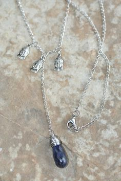 Blue Sapphire Buddha Necklace