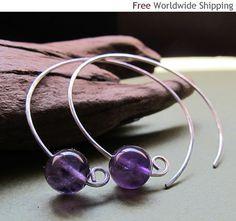 Amethyst Hoop Earrings Modern Open Hoops by NadinArtDesign on Etsy, $28.00