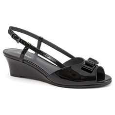 The womens Trotters Milly is a sweet slingback perfect for all your dressy occasions. The peep toe sandal features a leather upper with a dainty bow ornament. Black Patent Leather, New Shoes, Peep Toe, Dress Shoes, Footwear, Handbags, Spring 2015, Sandal, Wedding Ideas