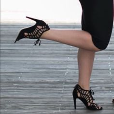 ⚡️Flash Friday Sale! Dolce Vita Black Suede Heels Tie up the front with a zipper in the back. I have a wider foot and these are great, they are just a little too big for me length wise. I bought them on a wim for my engagement pictures but have no use for them now! Dolce Vita Shoes Heels