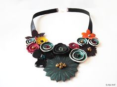 Leather Bib Necklace Colorful Green Statement Necklace Emerald Red Yellow Flowers