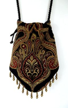 Tapestry Gypsy Bag with Brass Beads Hippie Bag Boho Bead Bag Cross Body Bag Hippie Purse, Hippie Bags, Boho Bags, Gypsy Bag, Boho Gypsy, Bohemian, Beaded Purses, Beaded Bags, Diy Sac