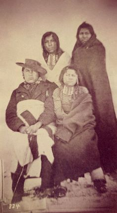 An old photograph of a Group of Shoshone Indians 1869.