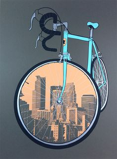 City Bike Minneapolis Cycling Poster by dogfishmedia on Etsy  #illustration #cycling #art #creativity