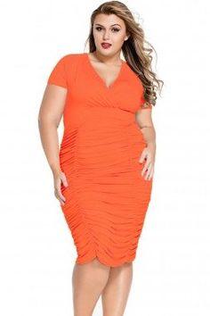 Plus Size Orange Rouged Dress