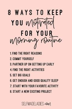 8 best ways to motivate yourself to keep up with your morning routine. You know that having a Morning Routine is a great way to start the day more successful, but you don't find the motivation to get up at 5 am every day? Morning motivation , how to crea Daily Routine Schedule, Morning Routine Checklist, Healthy Morning Routine, Morning Habits, Morning Routines, Daily Routines, Daily Schedules, Healthy Routines, Dru Hill