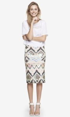 EXPRESS Sequin embellished midi skirt // A fun print that's perfect for fall or summer. For the current season, I would pair this with a cropped sweater or black blazer and a strappy heel or booties.
