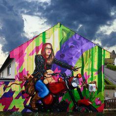 3Steps | Wild ride in Isegrims Forest |  mural | urbanart | streetart | Art | Kunst |  Wand | modern | little red riding hood | Rotkäppchen | Märchen | fairy tale | Motorrad | motorcycle | Lederjacke | lether jacket | Lich-Langsdorf | Germany | 2014