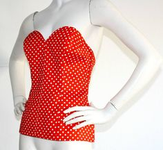 """Vintage Yves Saint Laurent """" Rive Gauche """" Polka Dot Red & White Corset Bustier 