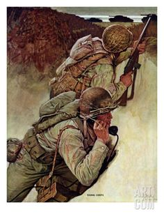 """Signal Corpsmen During Battle,"" September 9, 1944 Giclee Print  by MEAD SCHAEFFER (American, 1898-1980"