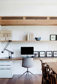 Go wide, not deep: Sure, at work we often get both, but at home the trick is to keep things looking unobtrusive while also acting as a versatile space. Choosing a narrower desk surface that stretches wide streamlines the visual impact of the desk without sacrificing surface area. Photography: Prue Ruscoe