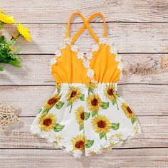 Baby Girl Lace Trim Backless Sunflower Romper Best Picture For cute baby clothes For Your Taste You Cute Baby Girl Outfits, Baby Girl Romper, Baby Outfits Newborn, My Baby Girl, Baby Dress, Kids Outfits, Cute Outfits, Baby Baby, Baby Girl Stuff