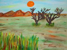 Vörös Nap. Akril, papír. 30 x 40 cm.