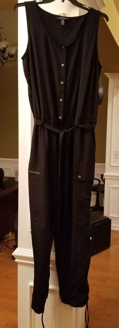 46c57080aa2 RALPH LAUREN PLUS NWT  165 Beautiful Black Charmeuse Cargo Jumpsuit 18W   fashion  clothing