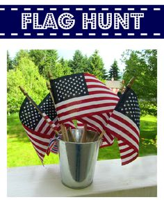 Flag Hunt for a large group of kids. Tag each flag with a number and a letter. kids can work alone or in groups. as they find the flags, they leave them there and just copy the letter onto the coordinating blank on their paper. Patriotic Party, Patriotic Crafts, July Crafts, Holiday Crafts, Holiday Fun, Holiday Ideas, Jolly Holiday, Favorite Holiday, Holiday Decor