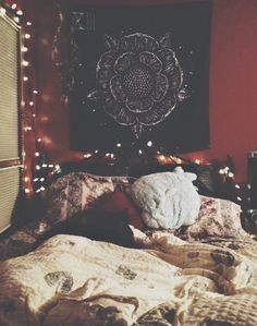 Twinkle lights and red room