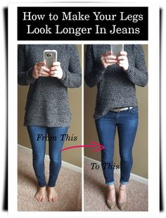 How to make your legs look longer in jeans - great tips and tricks at www.wearitforless.com