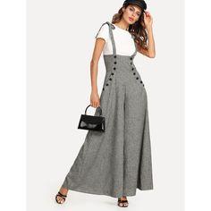 7d5697ebfa8 Self Tie Shoulder Button Embellished Wide Leg Pinafore Jumpsuit