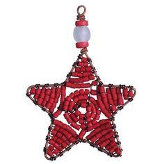 Beaded Star Ornament Red - Ghana