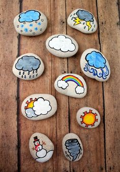 These weather story stones are a DIY toy designed for story-telling prompts and for narrative play. Story stones are fun and so easy to make plus your kids can enjoy them for years! They could also be helpful when teaching younger kids about our chan Stone Crafts, Rock Crafts, Diy And Crafts, Arts And Crafts, Crafts To Sell, Pebble Painting, Pebble Art, Stone Painting, Acrylic Painting Rocks
