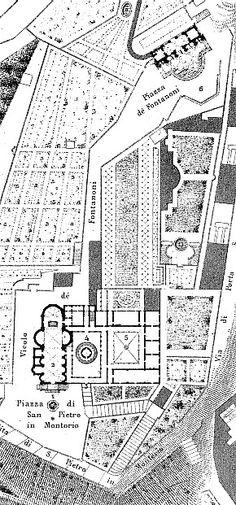Map showing Bramante's Tempietto in the church complex.
