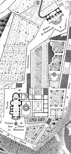 Map showing Bramante's Tempietto in the church complex.
