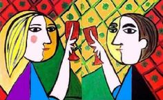(Picasso-wine-table couple) - Google Search