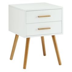 Oslo Two Drawer End Table White - Convenience Concepts : Target