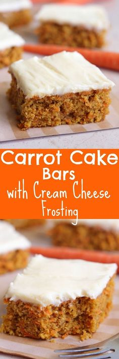 Eat Cake For Dinner: Carrot Cake Bars with Cream Cheese Frosting I love carrot cake. Like really really LOVE carrot cake. Most carrot cakes are loaded with oil and sugar. I wanted to create a s. Cookie Desserts, Just Desserts, Cookie Recipes, Delicious Desserts, Dessert Recipes, Yummy Food, Easy Cream Cheese Desserts, Cream Cheese Bars, Recipes Dinner
