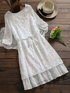 Ruffle Hem Floral Holiday Dress With Belt - White Xl - Shoproads Cute Fashion, Modest Fashion, Look Fashion, Hijab Fashion, Trendy Fashion, Girl Fashion, Fashion Dresses, Stylish Dresses, Cute Dresses