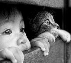 une-photographie-artistique-en-noir-et-blanc-chat-et-enfant