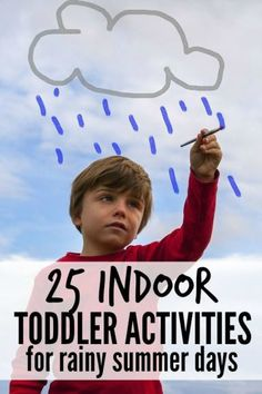 Looking for boredom busters for rainy summer days? No problem! This list of 25 indoor toddler activities has you covered! Family game idea for summer.