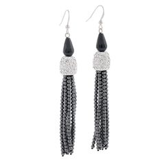 Show details for The Michelle Tassel Earrings, Drop Earrings, Fifth Avenue Collection, Black Onyx, Lead Free, Swarovski Crystals, Stylists, Bling, Sterling Silver