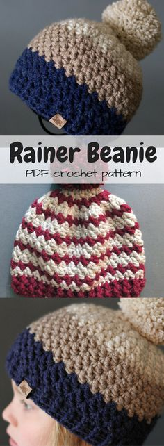 Pretty Darn Adorable! This sporty beanie is perfect to keep you warm on those cold blustery days. Made out of bulky yarn this crochet unisex beanie works up quickly and is perfect for everyone! #etsy #ad #toque #hat #crochet #pattern #pompom #HatsForWomenSporty