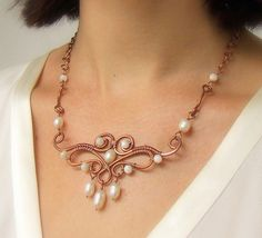 Pearl copper necklace wire wrapped statement jewelry June birthstone. $59.00, via Etsy.