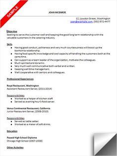 restaurant server resume sample - Sample Resume For Restaurant Server
