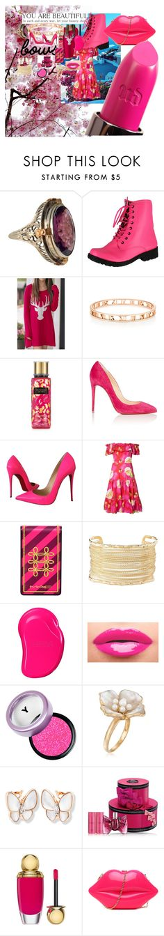 """""""pink"""" by carinalarsen ❤ liked on Polyvore featuring beauty, Qupid, WithChic, Christian Louboutin, Isolda, MAC Cosmetics, Charlotte Russe, Tangle Teezer, Yves Saint Laurent and Ross-Simons"""
