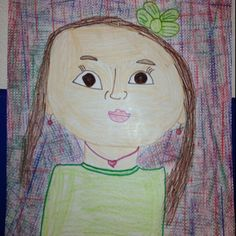 First grade self portraits...crayon, marker & texture plates.