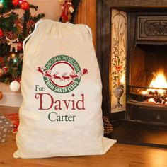 Festive green & red Personalised Santa sack / personalised Christmas sack FLASH SALE on Etsy, $26.72