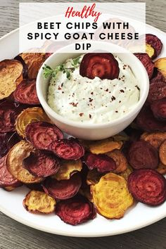 These Healthy Beet Chips with Spicy Goat Cheese Dip from Cooking with Coit are worth the effort! The second you dip your fresh-out-of-the-oven beet chips in this spicy goat cheese dip, you will be in heaven. #beetchips #goatcheesedip #healthyappetizers Appetizer Dips, Healthy Appetizers, Appetizer Recipes, Great Appetizers, Healthy Snacks, Beet Chips, Veggie Chips, Apple Chips, Beet And Goat Cheese