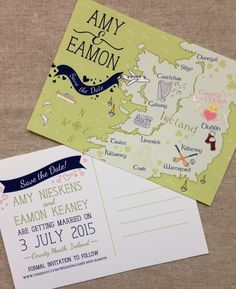 Save the Date Postcard Custom Illustrated Ireland Wedding Map - Dana Marino Design www.danamarinodesign.com