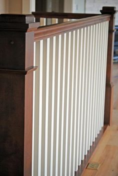 I love the stained and painted railing! It will go perfectly with my espresso & white cabinet/trim/door combination