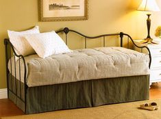 """""""I bought this bed with the trundle. I put 2 high quality mattresses on it and I pop up the trundle and use it as a KING size bed for company or 2 twins for single guests. They love it! The bed is very sturdy. Not rickety like other cheap ones. A solid investment."""" - Dee Pop Up Trundle Bed, Metal Daybed With Trundle, Wood Daybed, Daybed Room, Daybed Mattress, Daybed Bedding, Upholstered Daybed, Queen Mattress, Home Design"""
