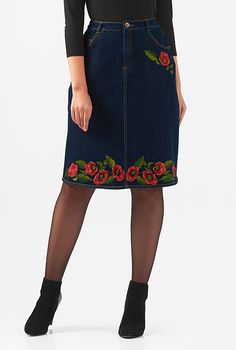 I <3 this Floral stretch denim straight skirt from eShakti
