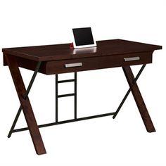 Large Modern Dark Walnut Computer Desk