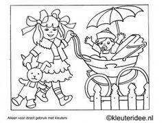 Kleurplaat wandelen met de kinderwagen, kleuteridee , Preschool coloring, walking with the stroller.