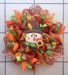 Fall Scarecrow Orange deco mesh wreath with chevron, polka dot & plaid ribbon