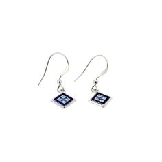 These elegant .925 sterling silver earrings, featuring a squared rushnyk design, are available in red, blue or pink.