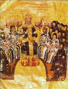 Byzantine Emperor John VI Kantakouzenos presiding over a synod. Constantinople, 1370-75 [Bibliothèque nationale de France, Paris.] John served as a Grand Domestic and regent for the Palaiologoi, before reigning himself as Emperor. You can see the Byzantine imperial eagle.
