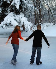 Baby , it's cold outside Ice skating. An indoor rink is fine, but if you have your own skates why not test out the ice on your local lake? ***make sure you know the lake is very frozen*** I Love Winter, Winter Fun, Winter Snow, Winter Time, Winter Season, Winter Date Ideas, Cute Date Ideas, Snow Scenes, Winter Scenes